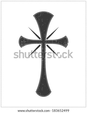 Black cross isolated on white - stock vector