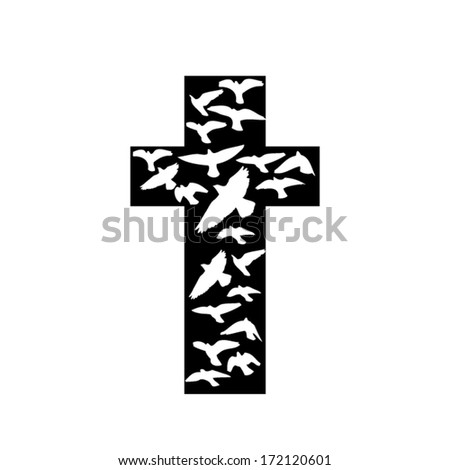 Black cross with white birds. Vector - stock vector