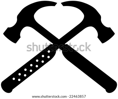 black crossing claw hammer icon set - stock vector