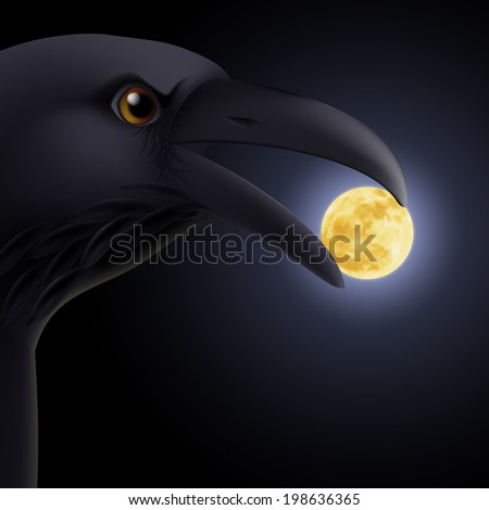 Black crow holding in its beak the moon - stock vector