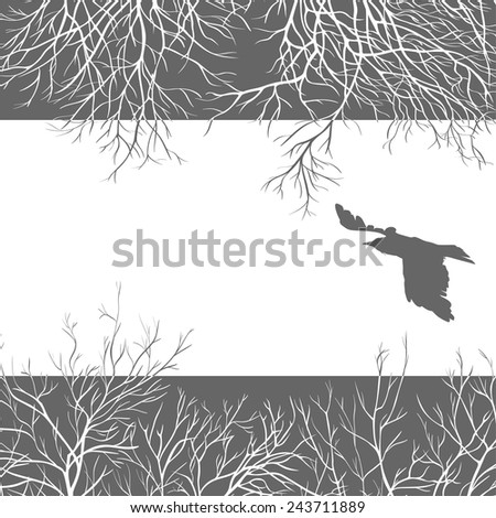 Black crow on a leaden sky. All elements can be painted and used separately. - stock vector