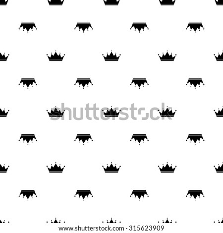 Black crown on white background seamless pattern. - stock vector