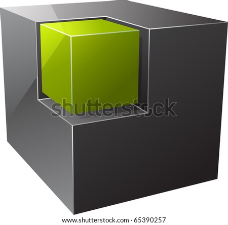 Black cube. Vector illustration - stock vector