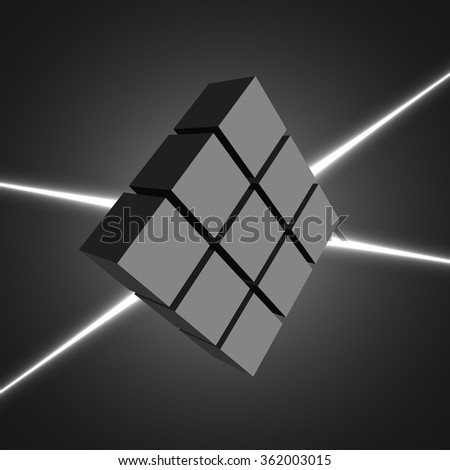 Black cubes. White laser beams. 3D. Laser. Neon light. Light effect. Vector illustration.