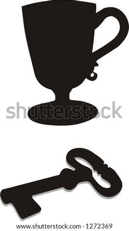 black cup and a stylish old key, vector illustrations - stock vector