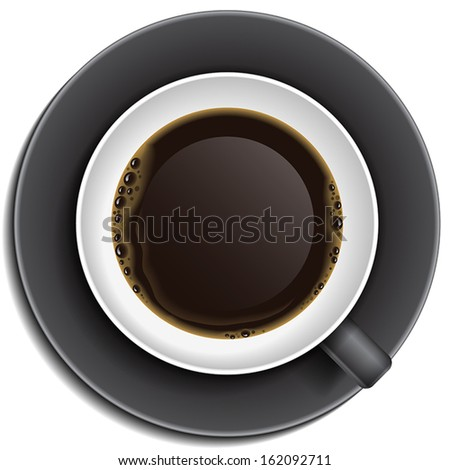 Black cup of coffee on saucer. Top view, vector illustration for mock up. - stock vector