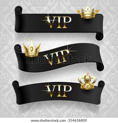 Black curled ribbons with gold crowns and VIP inscription on classic light decorative background. Vector illustration - stock vector