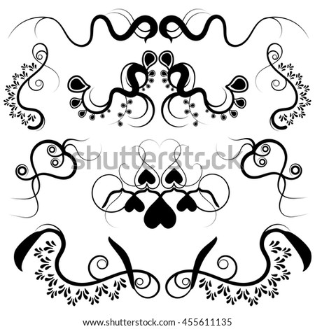 Black Curly Swirl Vector Design Elements - Set of black swirl vector elements with curved and curly shape designs isolated on a white background. - stock vector