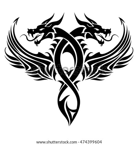 black cutout tribal dragon tattoo vector stock vector 474399604 shutterstock. Black Bedroom Furniture Sets. Home Design Ideas
