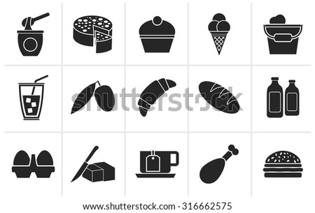 Black Dairy Products - Food and Drink icons - vector icon set - stock vector
