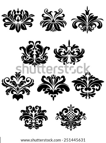 Black damask floral and foliate design elements isolated on white background suitable for patterns or ornaments - stock vector