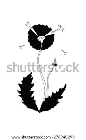 black dandelion - stock vector