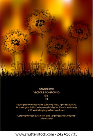 black dandelions and grass silhouettes on blurry background - stock vector