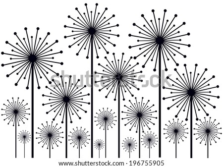 black dandelions silhouettes isolated on whites - stock vector