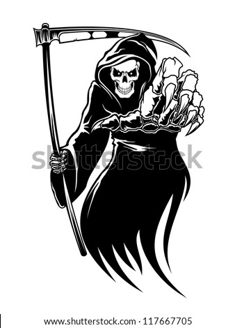 Black death monster with scythe for halloween concept. Jpeg version also available in gallery - stock vector
