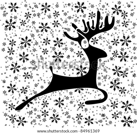 Black deer on the white background with black snowflakes