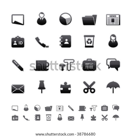Black Deluxe Icons - Office Set. Editable Vector File in Adobe Illustrator EPS 8.