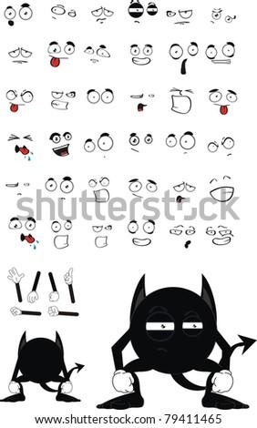 black demon cartoon set  in vector format - stock vector