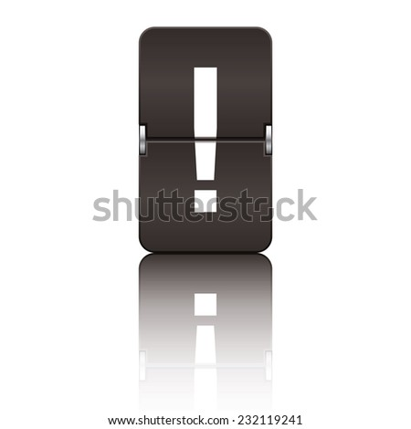 Black departure board letter exclamation mark from a series of flipboard letters. - stock vector
