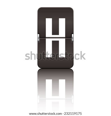 Black departure board letter h from a series of flipboard letters. - stock vector