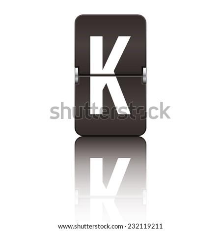 Black departure board letter k from a series of flipboard letters. - stock vector