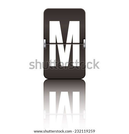 Black departure board letter m from a series of flipboard letters. - stock vector