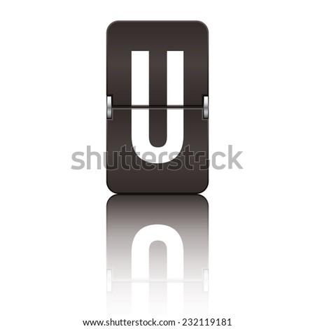 Black departure board letter u from a series of flipboard letters. - stock vector