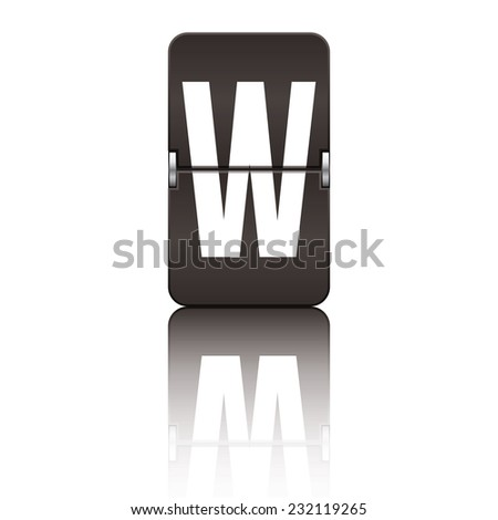 Black departure board letter w from a series of flipboard letters. - stock vector