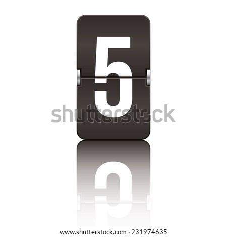 Black departure board number 5 from a series of flipboard numbers. - stock vector