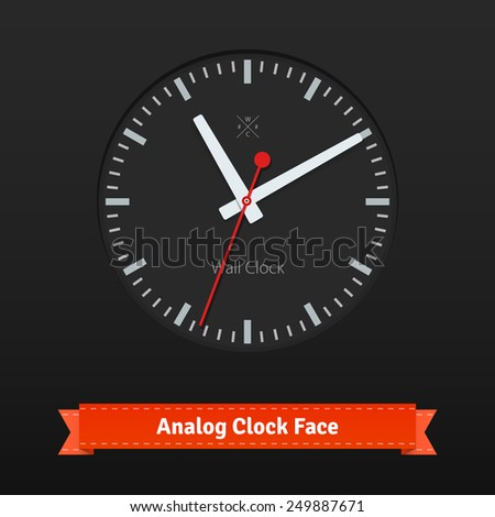 Black designer clock face with red seconds hand and grey dials. Flat style illustration or icon. EPS 10 vector. - stock vector