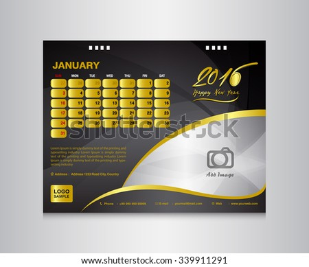 Black Desk Calendar 2016 Vector Design Stock Photo Photo Vector