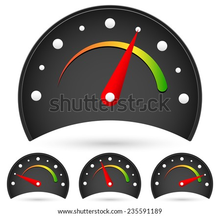 Black dial set at 4 stages - stock vector