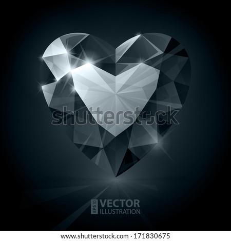 Black diamond heart shape. RGB EPS 10 vector illustration - stock vector