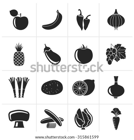 Black Different kind of fruit and vegetables icons - vector icon set - stock vector