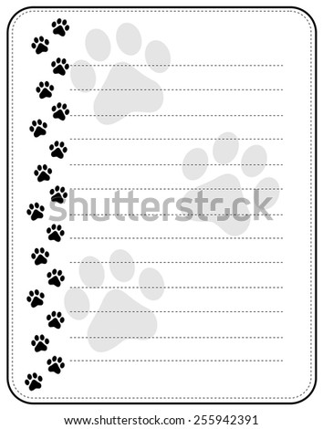 Black dog paw print border / frame with lines - stock vector