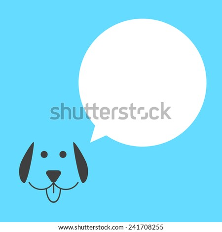 black dog with white speech bubble. concept of talking animals, template postcard and man's best friend. isolated on blue background. flat style trendy modern logo design vector illustration - stock vector