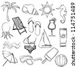 black doodle beach images - stock vector