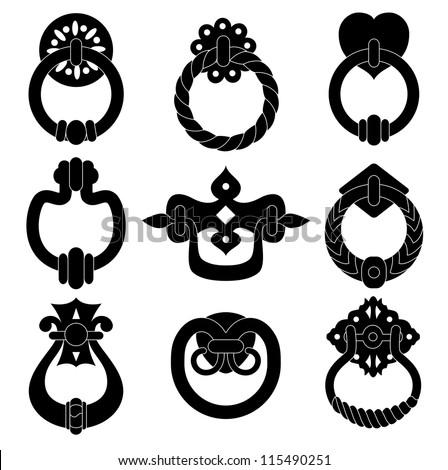 Black  door handle silhouettes set - stock vector