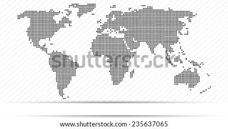 Black Dots World Map of the World with stripes - stock vector