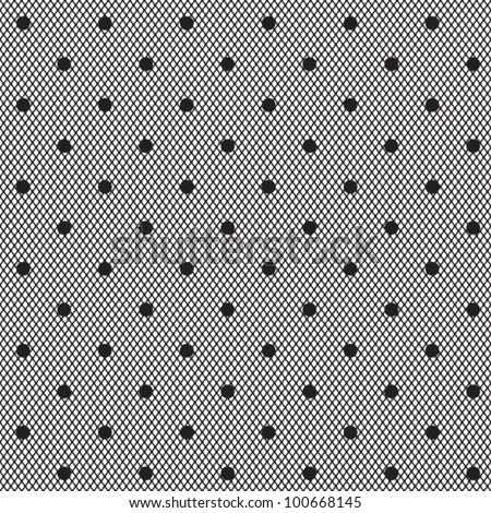 black dotted veil seamless pattern on white background - stock vector