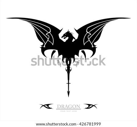 Black Dragon, Dragon, spreading its wing. Elegant Black Dragon, symbolizing power, protection, dignity, wisdom, etc. Suitable for team Mascot , team icon, community identity, product identity, etc  - stock vector
