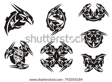 Black Dragon Head Symbols Tribal Style Stock Vector Hd Royalty Free
