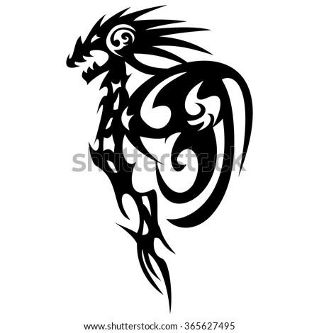 black dragon tattoo design on white background, vintage engraved illustration. - stock vector