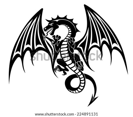 Black dragon tattoo isolated on white background. Vector illustration - stock vector