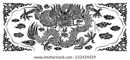 black dragon with cloud - stock vector