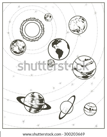 Black drawing, solar system vector - stock vector