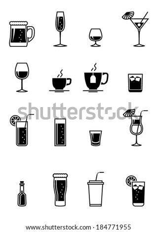 Black drinks icon - stock vector