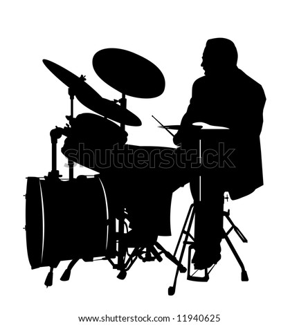 black drummer silhouette, high details - stock vector