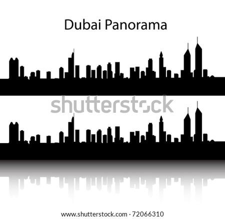 Black Dubai panorama silhouette on white background - stock vector