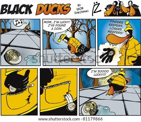 Black Ducks Comic Story episode 71 - stock vector